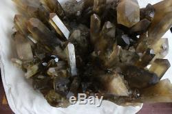 26kg Énorme Fumée Naturelle Citrine Quartz Cristal Cluster Points Roche Spécimen