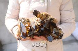 2700g Naturel Belle Citrine Smoke Quartz Crystal Cluster Spécimen Tibétain