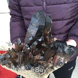 27lb 8 Naturel Beau Grand Noir Quartz Cristal Cluster Spécimen Heal Fc38