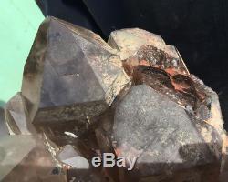 29.8lb Grand Naturel Fumé Cristal Rock Quartz Cluster Point Spécimen Reiki Guérir