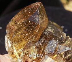 3.47lb Rare Natural Clear Golden Rutilated Quartz Crystal Cluster Specimen
