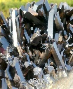3041g Naturel Belle Noir Cristal De Quartz Grappe Minérale Spécimen Rare