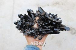 3080g Naturel Beau Noir Cristal De Quartz Cluster Tibétain Spécimen