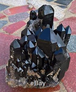 31.2lb Naturel Rare Beau Spécimen Minéral En Grappe De Quartz Quartz Noir