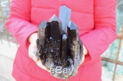 3100g Naturel Beau Noir Quartz Cristal Cluster Spécimen Tibétain B001