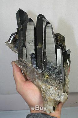 3129g Aa ++ Rare Amazing Beautiful Black Quartz Crystal Cluster Tibetan Specimen