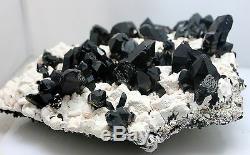 3255g De Spécimens De Grappes De Feldspath En Cristal De Quartz Noir Naturel Intergroupe Rare