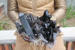 3580g Natural Beautiful Black Quartz Crystal Cluster Tibetan Specimen # 02