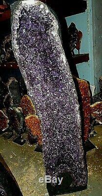 38,5 Pouces Cathédrale Du Brésil Améthyste Cristal Cluster Geode Paire Belle