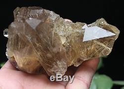 382g Nouveau Trouver Naturel Clair Or Rutilé Quartz Spécimen De Grappe De Cristal
