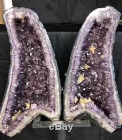 39 By 26 Améthyste Géode Quartz Crystal Cluster Cathédrale Avec Base En Acier