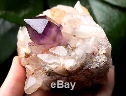 393.7g Naturel Améthyste Squelettique Quartz Cristal Groupe Spécimen De Guérison