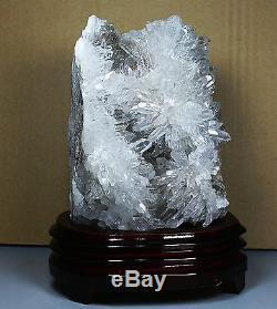 4.03lb Clear Natural Chrysanthème Blanc Quartz Crystal Cluster Spécimen / Stand