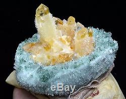 4.0lb Nouveau Trouver Vert Et Jaune Phantom Quartz Cristal Cluster Spécimen Minéral