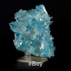 4.2 Pierre Bleue Néon Iridescente Aqua Aura Quartz Crystal Cluster Arkansas À Vendre