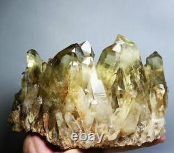 4.37lb Naturel Clair Fumé Citrine Quartz Crystal Cluster Point Healing Minéral