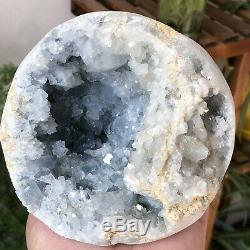 4.56lb Naturel Célestite Geode Quartz Cluster Spécimens Minéraux De Guérison