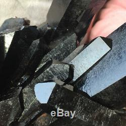 4.8lb Tibet Noir Cristal De Quartz Cluster Rugueux Guérison Minérale Des Échantillons