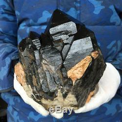 4.9lb Grand Quartz Naturel Noir Cristal Cluster Rugueux Guérison Des Échantillons
