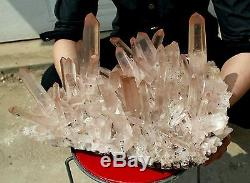 40.2lb Nouvelle Recherche Rare Natural Red Surface Clear Quartz Crystal Cluster Specimen