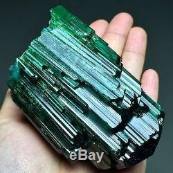 414g Incroyable! Big Natural Vert Clair Tourmaline Gem Cluster Cristal Spécimen