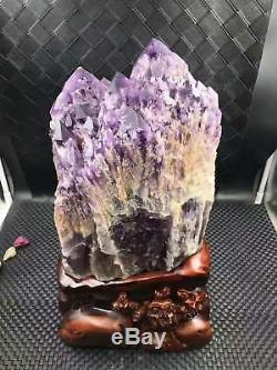41lb Améthyste Pourpre Naturel Spécimen De Pointe En Grappe Quartz Crystal Brésil