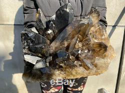 44,6 Lbs Naturel Quartz Fumé Grappe De Guérison Cristal Mineral Point Spécimen B01