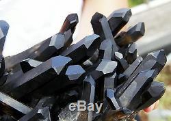 4830g Rare! Spécimen De Grappe De Cristal De Quartz Noir Naturel Clair