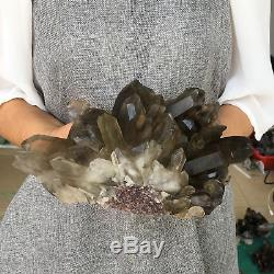 5.3lb Cluster Smokey Naturel Spécimen De Cristal De Quartz Minéral De Guérison Av880