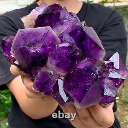 5.4lb Naturel Amethyst De Cristal De Quartz Groupe Géode De Guérison