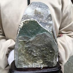 5.91lb Améthyste Naturelle Grappe De Quartz Cristal Géode Guérison + Standun153