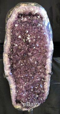 51 Améthyste Cathédrale Geode Cristal Quartz Cluster Spécimen Avec Base En Acier