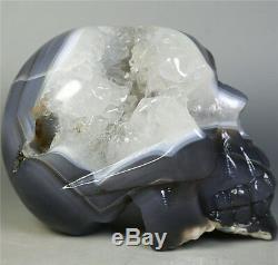 541g Naturel Agate Geode Pierre De Cristal Sculpté Skull Cluster Squelette Guérison