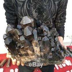 56.2lb 89.6 Spécimen De Grappes De Cristaux De Quartz Noir Naturel Magnifique Db73