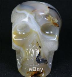 568g Naturel Agate Geode Pierre De Cristal Sculpté Skull Cluster Squelette Guérison