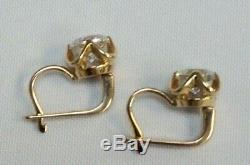 583 Boucles D'oreilles En Or Massif Soviétique Or 14 Carats Rose Quartz Vintage Russian Gold Rare