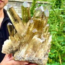 6.6lb Naturel Citrine Guérison De Cristal De Spécimen Minéral De Cluster De F289
