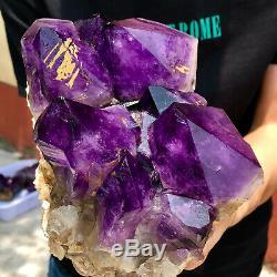 6.98lb Naturel Amethyst Échantillon De Cristal De Quartz Grappe Géode Guérison