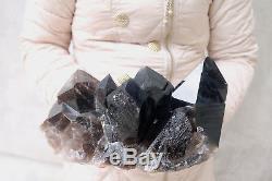 6380g Naturel Beau Spécimen Tibétain En Cristal De Quartz Noir # 722
