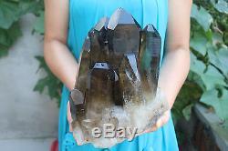 6400g Naturel Beau Noir Fumée Quartz Cristal Cluster Spécimen Tibétain # 101