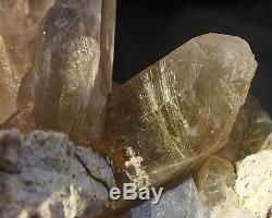 7.12lb Rare Naturel Clair Or Rutilé Quartz Spécimen De Grappe De Cristal
