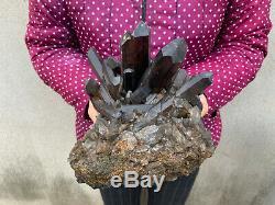 7.8lb Naturel Grand Quartz Fumé Grappe De Guérison Cristal Mineral Point Échantillon