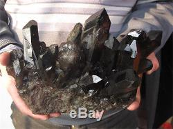 8.17lbrare Natural Beautiful Black Quartz Crystal Cluster Tibetan Specimen 3709g