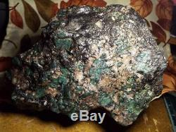 8.75lb Bolder Vert Emeraude Crystal Cluster Dans Matrix Mine Brut Rose Feldspath