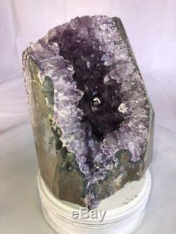 8 Qual. Spécimen En Grappe Naturelle Aaa Methyst Cathedral Geode Crystal Quartz