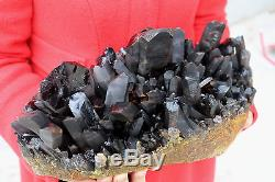 8200g Natural Beautiful Black Spécimique De Minerai De Grappe De Cristal Quartz B91