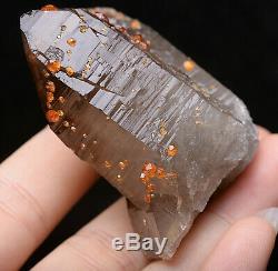 87.6g Naturel Quartz Fumé Grenat Cristal Minéral Grappe D'échantillons