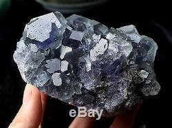 884.6g Naturel Bleu Fluorite Quartz Cristal Cluster Spécimen Minéral
