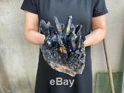 9.4lbs Naturel Belle Noir Cristal De Quartz Grappe Minérale Des Échantillons De Guérison