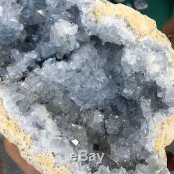 9.74lb Celestite Naturelle Géode Cluster Cristal De Quartz Spécimen De Guérison At5341